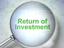 Business concept: Return of Investment with optical glass. Business concept: magnifying optical glass with words Return of Investment on digital background, 3D Stock Image