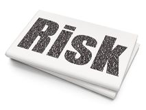 Business concept: Risk on Blank Newspaper background. Business concept: Pixelated black text Risk on Blank Newspaper background, 3D rendering Stock Photography