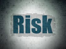 Business concept: Risk on Digital Data Paper background. Business concept: Painted blue text Risk on Digital Data Paper background with  Scheme Of Binary Code Royalty Free Stock Photo