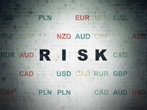 Business concept: Risk on Digital Data Paper background. Business concept: Painted black text Risk on Digital Data Paper background with Currency Stock Photos