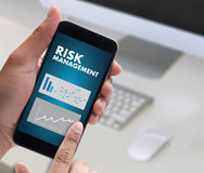 Business Concept  RISK MANAGEMENT and  Hazard Dangerous Prevent. Protect Stock Market Graph Growth Stock Photography