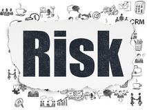 Business concept: Risk on Torn Paper background. Business concept: Painted black text Risk on Torn Paper background with  Hand Drawn Business Icons Royalty Free Stock Photo