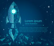 Business concept,rocket startup,bright neon. from low poly wireframe on a blue background. Vector abstract. Geometric polygonal image mash line and point royalty free illustration