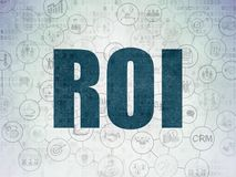 Business concept: ROI on Digital Data Paper background. Business concept: Painted blue text ROI on Digital Data Paper background with  Scheme Of Hand Drawn Royalty Free Stock Images
