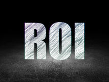 Business concept: ROI in grunge dark room. Business concept: Glowing text ROI in grunge dark room with Dirty Floor, black background Royalty Free Stock Image