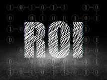 Business concept: ROI in grunge dark room Stock Images