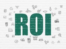 Business concept: ROI on wall background. Business concept: Painted green text ROI on White Brick wall background with  Hand Drawn Business Icons Royalty Free Stock Photo