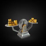 Business concept. Scales on black background. Stock Photos