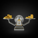 Business concept. Scales on black background. Stock Images