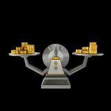 Business concept. Scales isolated on black background. Stock Image
