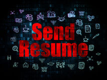 Business concept: Send Resume on Digital. Business concept: Pixelated red text Send Resume on Digital background with  Hand Drawn Business Icons, 3d render Royalty Free Stock Photos