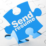 Business concept: Send Resume on puzzle background. Business concept: Send Resume on Blue puzzle pieces background, 3d render Royalty Free Stock Photography