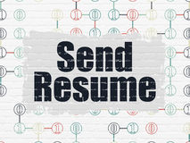 Business concept: Send Resume on wall background. Business concept: Painted black text Send Resume on White Brick wall background with Scheme Of Binary Code, 3d Royalty Free Stock Images