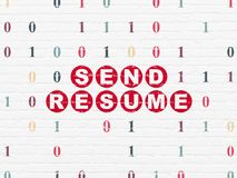 Business concept: Send Resume on wall background. Business concept: Painted red text Send Resume on White Brick wall background with Binary Code Royalty Free Stock Photo