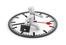 Businessman running in the big clock Royalty Free Stock Photography