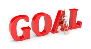 Person goes to success on a wooden ladder Royalty Free Stock Photos