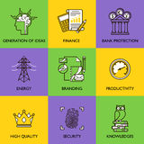 The business concept. Set of icons on a colored background Stock Photography
