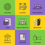 The business concept. Set of icons on a colored background Stock Images