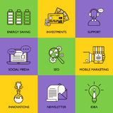 The business concept. Set of icons on a colored background Royalty Free Stock Photo