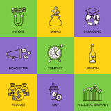 The business concept. Set of icons on a colored background Stock Image