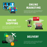 Business concept  set of online shopping internet purchase and d Stock Photos