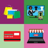 Business concept  set of online shopping internet purchase Stock Images