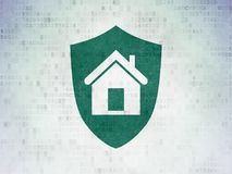 Business concept: Shield on Digital Data Paper background. Business concept: Painted green Shield icon on Digital Data Paper background Royalty Free Stock Images