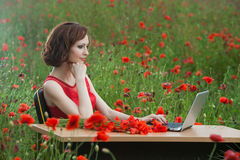 Business concept shot of a beautiful young woman sitting at a desk using a computer in a field. Royalty Free Stock Image