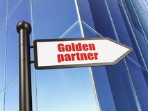 Business concept: sign Golden Partner on Building background. 3D rendering Royalty Free Stock Photo