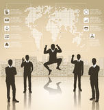 Business Concept Silhouettes With Infographics Earth Map Royalty Free Stock Photography