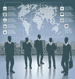 Business Concept Silhouettes With Infographics Earth Map Stock Photo