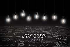 Business concept - sketch with schemes and graphs on chalkboard royalty free illustration