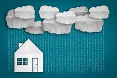 Business concept small house and raining Royalty Free Stock Images