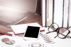 Business concept, smart phone,tablet,cellphone with work tool Stock Photography