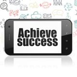 Business concept: Smartphone with Achieve Success on display. Business concept: Smartphone with  black text Achieve Success on display,  Hand Drawn Business Stock Image