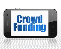 Business concept: Smartphone with Crowd Funding on display. Business concept: Smartphone with blue text Crowd Funding on display, 3D rendering Stock Photos
