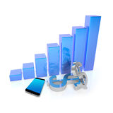 Business  Concept  with  Smartphone and 3D Graphs Stock Photos