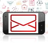 Business concept: Smartphone with Email on display. Business concept: Smartphone with  red Email icon on display,  Hand Drawn Business Icons background, 3D Royalty Free Stock Image