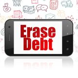 Business concept: Smartphone with Erase Debt on display. Business concept: Smartphone with  red text Erase Debt on display,  Hand Drawn Business Icons background Royalty Free Stock Image
