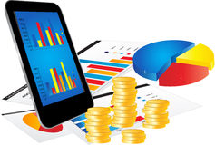 Business Concept with Smartphone and Graphs. Financial Concept with Smartphone, Business Report and Graphs on white background Stock Photos