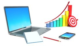 Business concept: smartphone, laptop and bar chart Stock Image