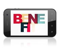 Business concept: Smartphone with Benefit on  display. Business concept: Smartphone with Painted multicolor text Benefit on display, 3D rendering Stock Photography