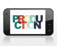 Business concept: Smartphone with Production on  display. Business concept: Smartphone with Painted multicolor text Production on display, 3D rendering Royalty Free Stock Photo