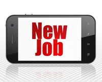 Business concept: Smartphone with New Job on display. Business concept: Smartphone with red text New Job on display, 3D rendering Royalty Free Stock Photo