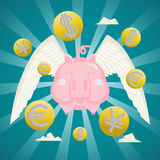 Business Concept, Smiling piggy bank with coins currency wings. Stock Photo