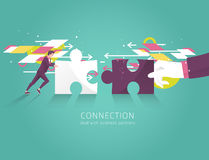 Business concept of solution, partnership, collaboration and support. Businessman and hand combine puzzle pieces. Vector flat illu Stock Photography