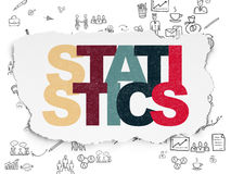 Business concept: Statistics on Torn Paper. Business concept: Painted multicolor text Statistics on Torn Paper background with Scheme Of Hand Drawn Business Royalty Free Stock Images