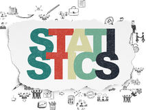 Business concept: Statistics on Torn Paper. Business concept: Painted multicolor text Statistics on Torn Paper background with Scheme Of Hand Drawn Business Stock Image