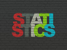 Business concept: Statistics on wall background. Business concept: Painted multicolor text Statistics on Black Brick wall background, 3d render Royalty Free Stock Images