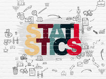 Business concept: Statistics on wall background. Business concept: Painted multicolor text Statistics on White Brick wall background with Scheme Of Hand Drawn Stock Images